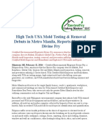 High Tech USA Mold Testing & Removal Debuts in Metro Manila, Reports Hygienist Divine Fry