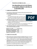 Les Principales Dispositions de La Loi de Finance 2016