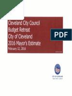Cleveland City Council Retreat- 2016 Est. City Budget 02 12 2016