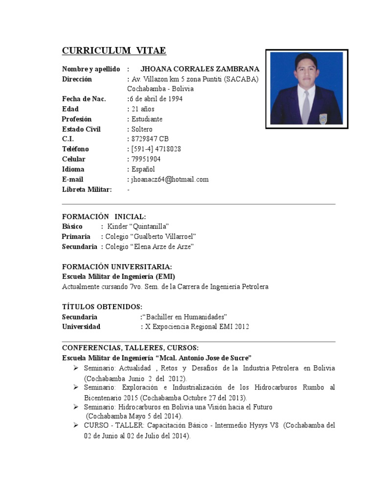 Dorable Formato De Curriculum Vitae De La Escuela Secundaria ...