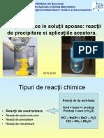 Curs 08 - Reactii Chimice. Reactii de Precipitare Si Aplicatiile Acestora