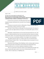 Metropolitan Water District Press Release