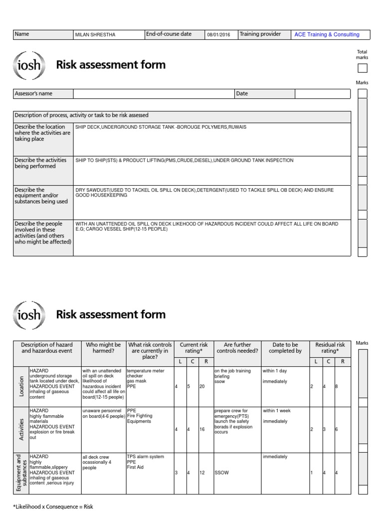 sample risk assessment form – Sample Risk Assessment Form