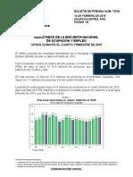 Resultados de la Encuesta Nacional de Ocupación y Empleo cifras durante el cuarto trimestre de 2015.