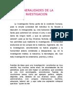 Generalidades de La Nvestigacion