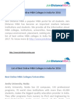 Latest List of Best Online MBA Colleges in India