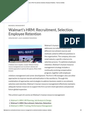 Walmart's HRM_ Recruitment, Selection, Employee Retention - Panmore