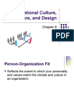 Chapter 8 - Organizational Culture Structure and Design