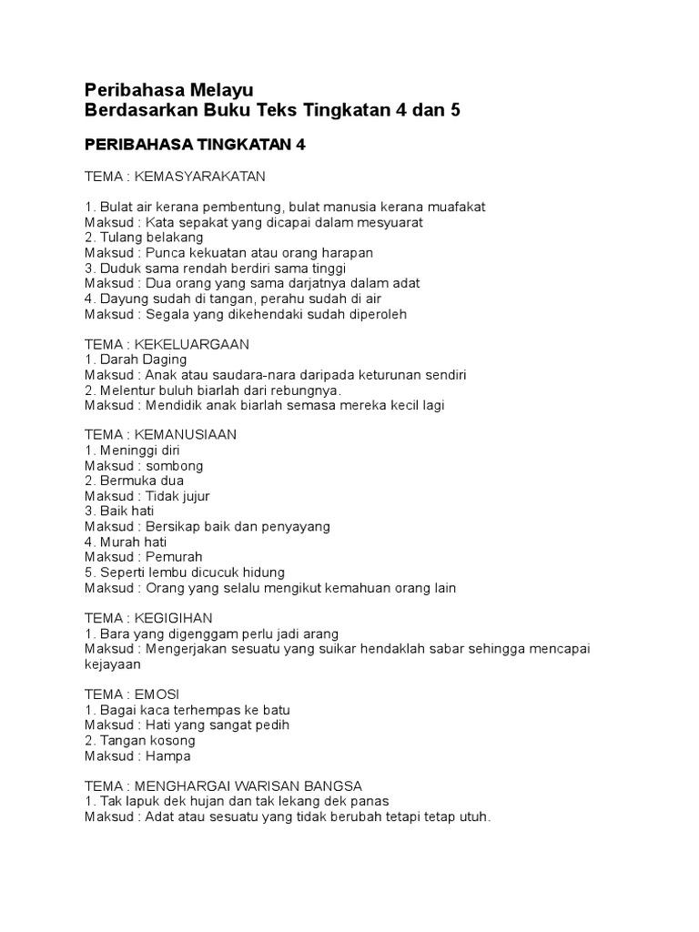Peribahasa Melayu Berdasarkan Buku Teks Tingkatan 4 Dan 5
