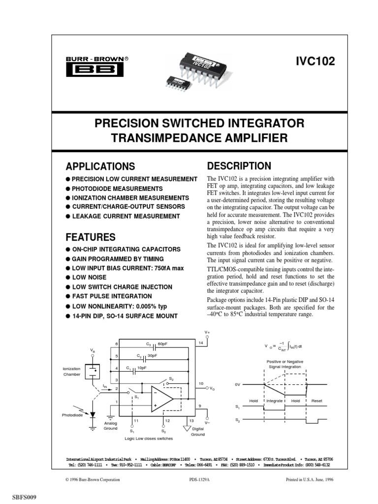 Ivc102 Datasheet Amplifier Operational Figure 2 Transimpedance Transfer Function