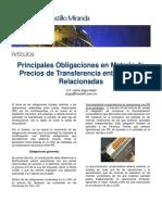 Principales Obligaciones en Materia de Precios de Transferencia Entre Partes Relacionadas