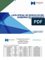 Lista Oficial de Vehiculos Oficiales del Gobierno de Matamoros