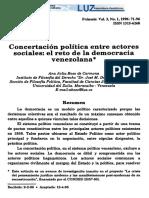 Concertación Política Entre Actores Sociales
