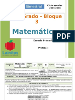 Plan 1er Grado - Bloque 3 Matemáticas