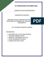 Unidad 2 Metodos de Evaluación y Selección de Alternativas