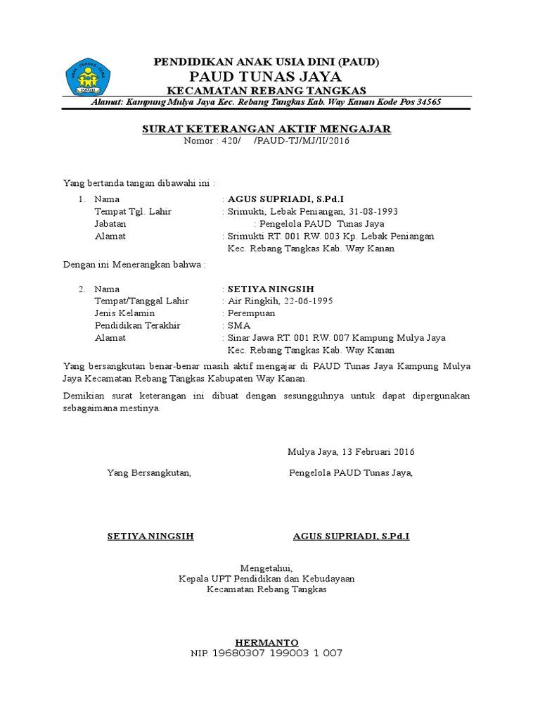 Surat Keterangan Aktif Mengajar Mengajar Paud Tunas Jaya