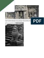 Sebuah Patung Singa Dari Candi Prambanan Diapit Dengan Dua Kapataru Dan Kinara