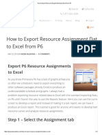 How to Export Resource Assignment Data to Excel From P6