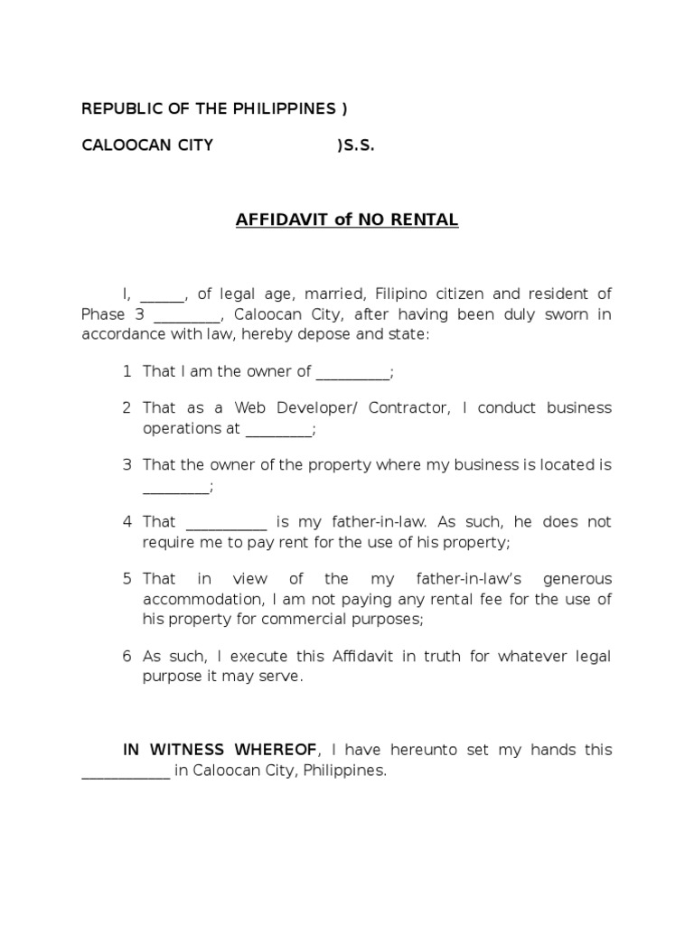 Affidavit of No Rental Sample – Sample Affidavit