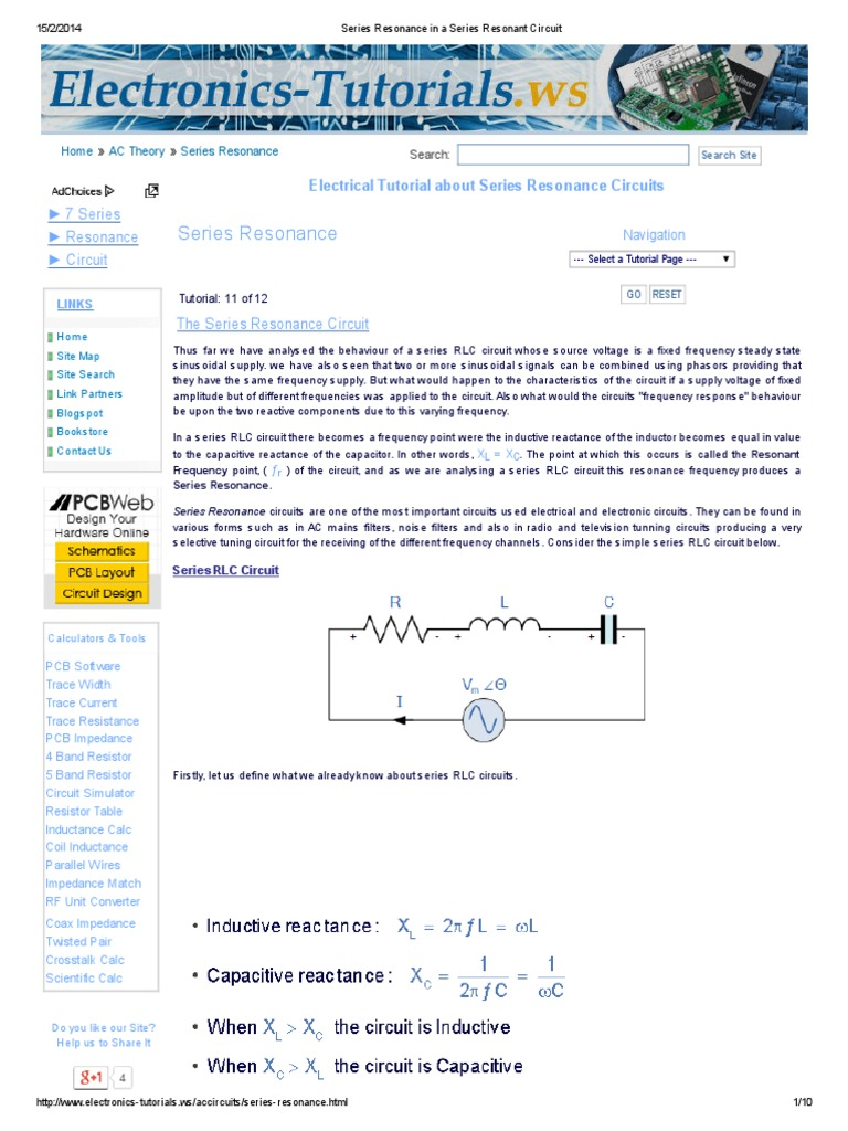 Series Resonance In A Resonant Circuit And Parallel Periodic Timer Timing Electronic Tutorial Circuits Electrical Impedance