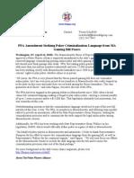 [Press Release] PPA Amendment Striking Poker Criminalization Language From MA Gaming Bill Passes (04/14/10)