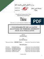 Vulnerabilite de La Nappe Alluviale de Tebssa Morsott Face Aux Polluants.