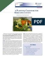 Vegetable Planting Calendar for  Maricopa County