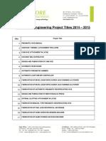 Mechanical Project List 20142015