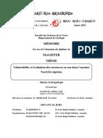 Vulnérabilité, Et Évaluation Des Ressources en Eau Dans l'Extréme Nord-Est Algérien.
