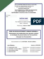 Phénomène de Prolifération Des Déchets Urbains Et Stratégie de Préservation de l'Écosystèm CONSTANTINE