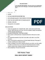 book report rubric 1