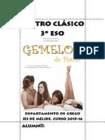 Teatro Clásico. 3º ESO. 2015-16