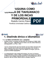 EL PUQUINA COMO LENGUA DE TIAHUANACO Y DE LOS INCAS PRIMORDIALES Por Rodolfo Cerrón-Palomino