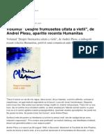 Volumul Despre Frumusetea Uitata a Vietii de Andrei Plesu Aparitie Recenta Humanitas