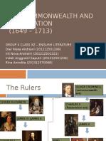 Commonwealth and Restoration - Literature