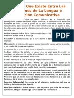 Relación Que Existe Entre Las Funciones de La Lengua e Intención Comunicativa