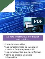 La Nota Informativa y La Crónica Noticiosa en Medios Electrónicos