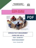 QUS 101 -Intro to Measurement