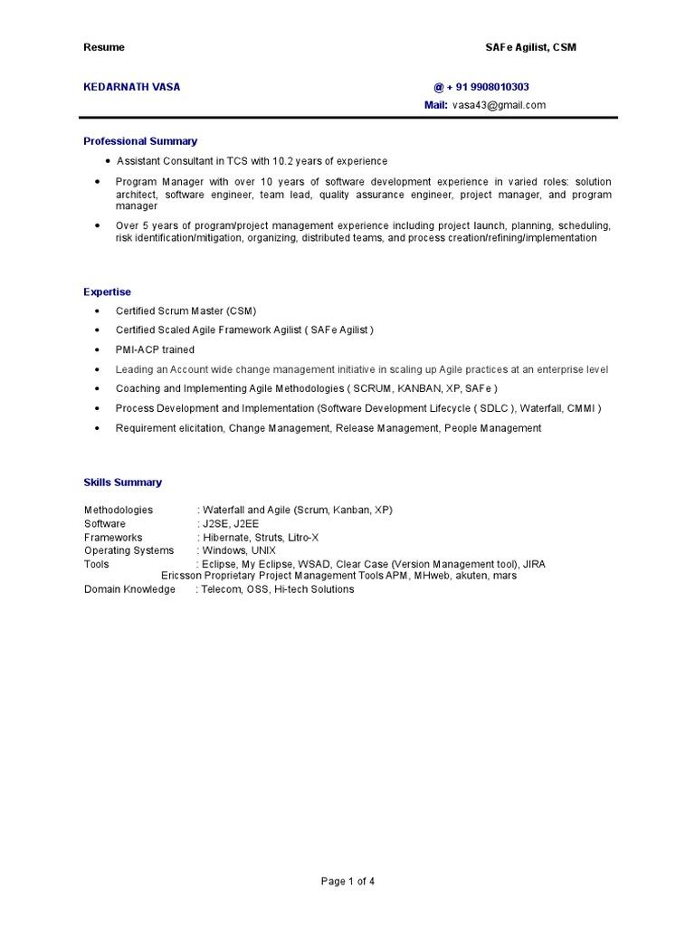 kedarnath vasa resume agile software development scrum software