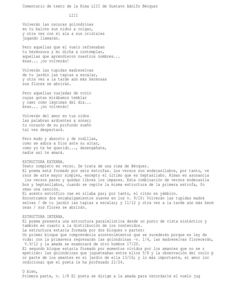 Volveranoscurasgolondrinas Comentario Rima Poesía