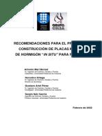Recomendaciones Para El Proyecto y Construcción de Placas Macizas
