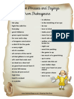 Common Phrases and Sayings Shakespeare 0