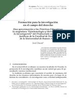 Formacion Para La Investigacion en El Campo Del Derecho