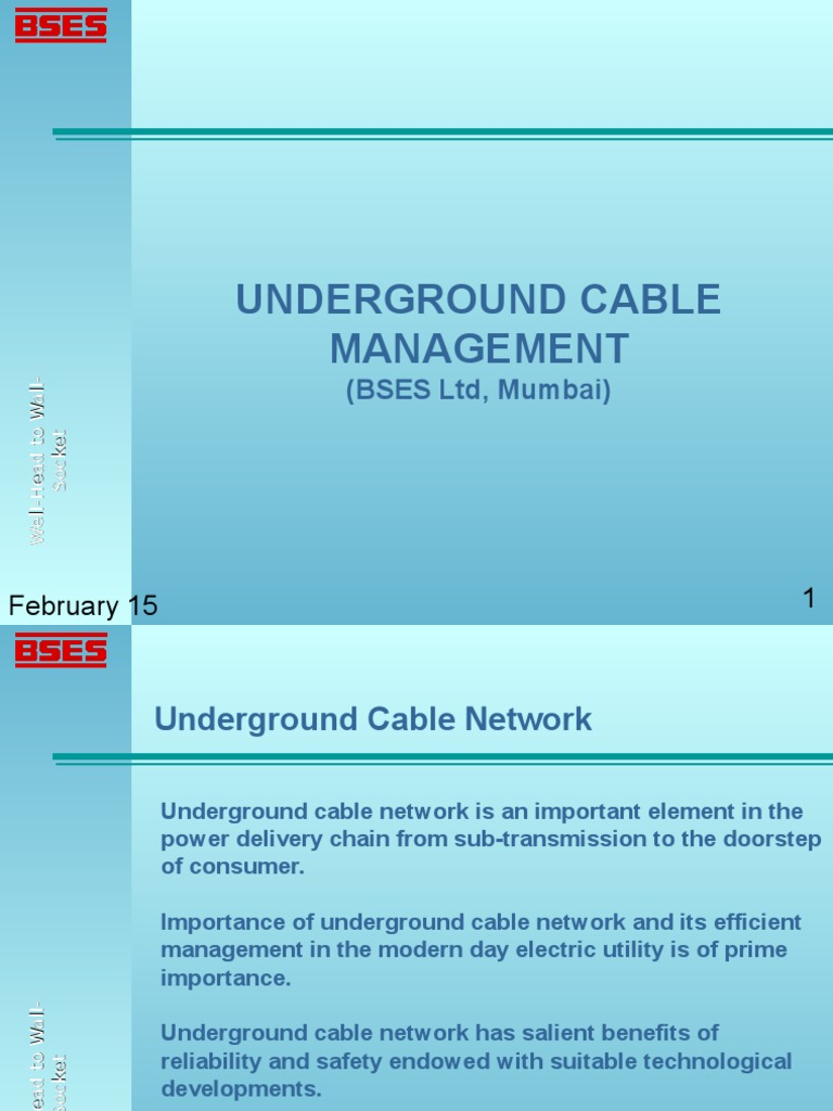 BSES_MUMBAI- Underground Cable Management | Cable | Electric Power ...