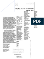 Budgeting and Rebudgeting in Local Governments