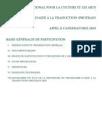 FONDS NATIONAL POUR LA CULTURE ET LES ARTS PROGRAMME D'AIDE À LA TRADUCTION (PROTRAD) APPEL À CANDIDATURES