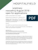 Interdisciplinary Residency August 2016. Hospitalfield