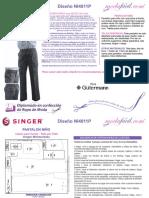 Instrucciones de Corte y Confección Del Patrón de Costura de Un Pantalon Con Resorte de Uniforme Escolar Para Ninos Modelo NI4011P