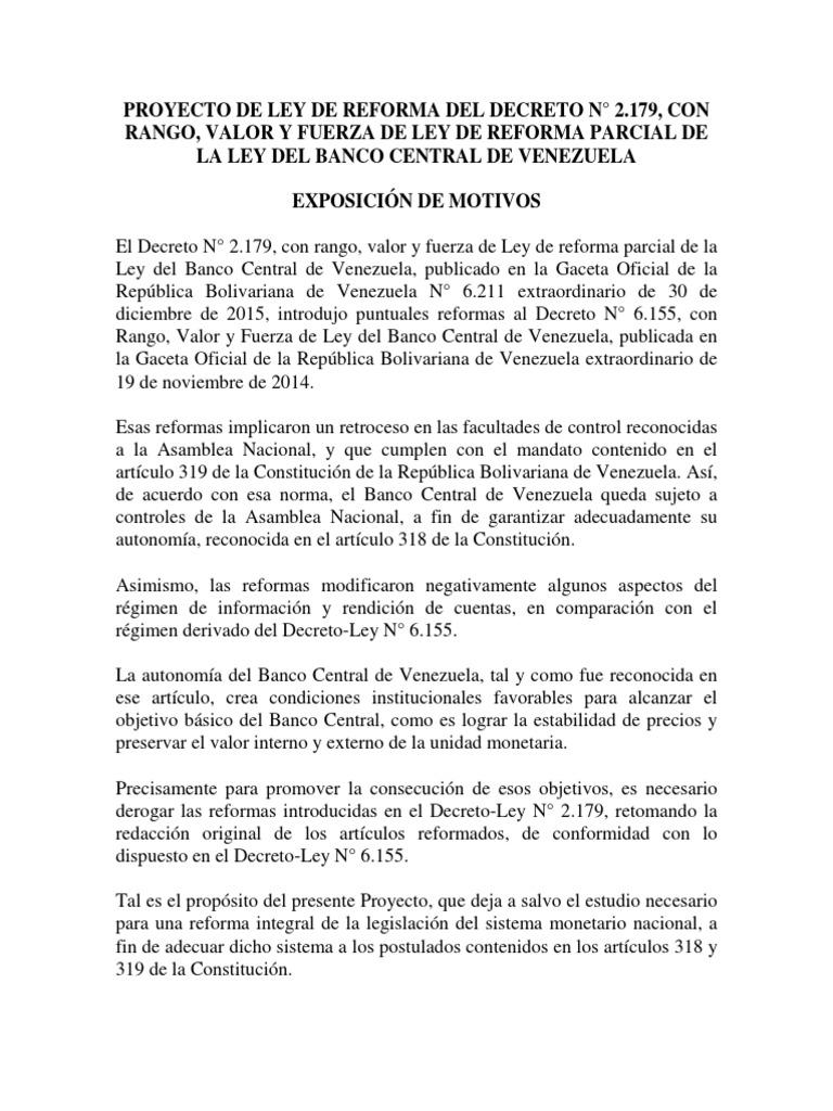 Proyecto de Ley de Reforma del decreto N° 2.179 de la Ley del BCV