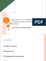 Balance de la participación ciudadana (resumen)